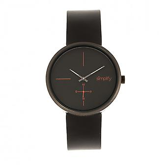 Simplify The 4400 Leather-Band Watch - Black
