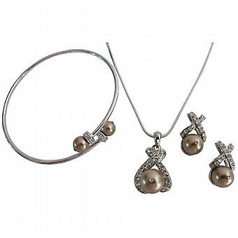 Latte-Schmuck Hochzeit Geschenk Perle Anhänger Halskette Ohrring Manschette Armband-Set