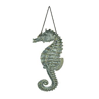 Galvanized Embossed Metal Art Seahorse Wall Decor