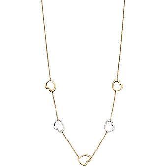 Elementen gouden hart ketting - goud/zilver