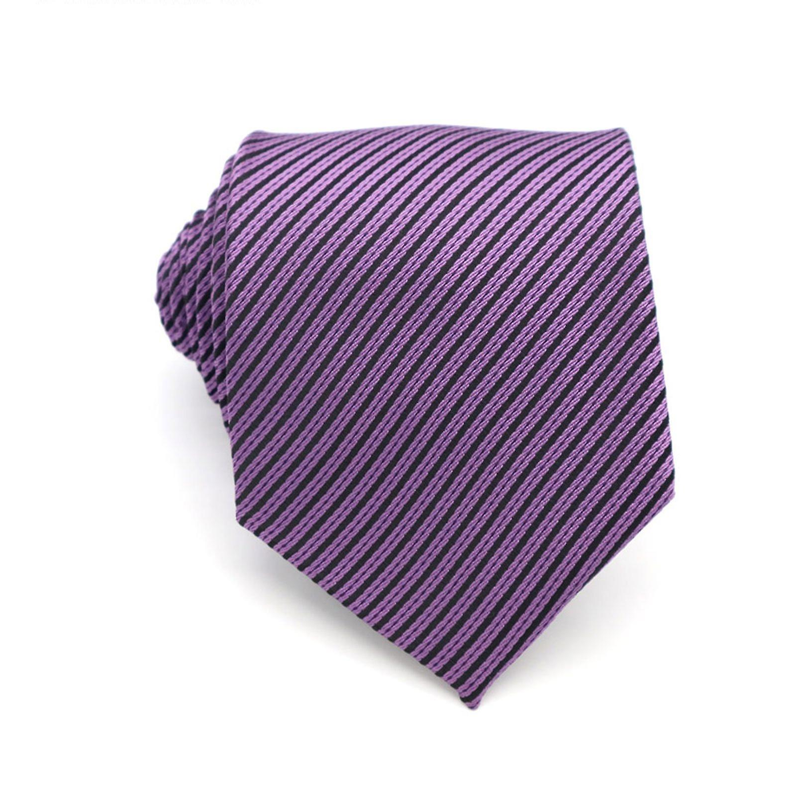 Solid purple plaid stripe necktie & pocket square set