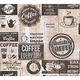 Bistro Coffee Shop Diner Wallpaper Kitchen Vintage Brown Beige Cream Embossed