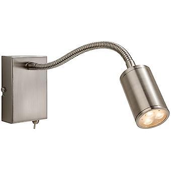 Firstlight-LED 3 lys Flexi indendørs Vægspotlys (Switched) børstet stål-3454BS