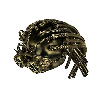 Metallic Steampunk Cyborg Helmet Halloween Mask with Gear Goggles
