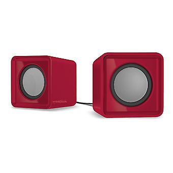 Speedlink Twoxo Usb-Powered Compact Cube Stereo Speakers - Red (SL-810004-RD)
