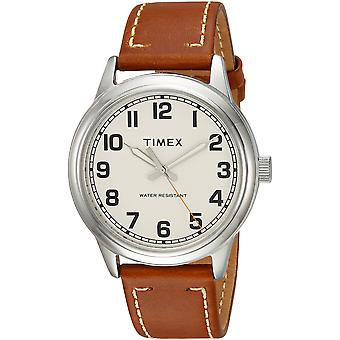 Timex Mens New England Tan/Cream Leather Strap Watch TW2R22700