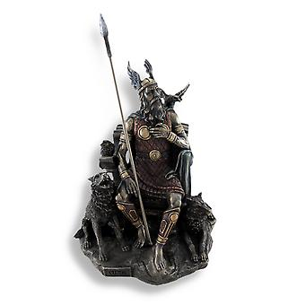 Bronzed Norse God Odin on Throne with Ravens and Wolves Statue