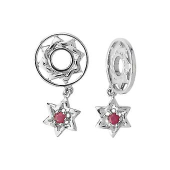 Storywheels zilver & Robijnrode ster Dangle Charm S126R