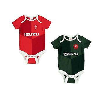 Wales WRU Rugby Baby 2 csomag bodysuits | Piros/zöld | 2019/20 szezon