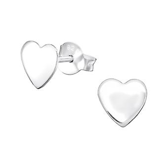 Heart - 925 Sterling Silver Plain Ear Studs - W34895x