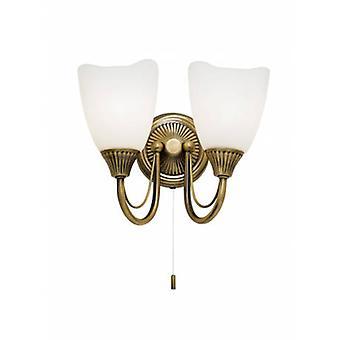 2 Light Indoor Wall Light Antique Brass With Opal Glass