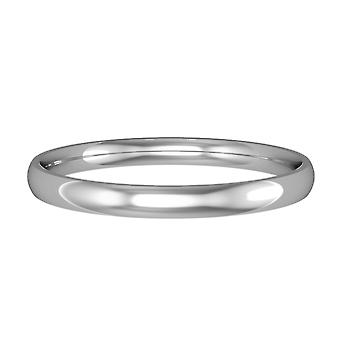 Jewelco London 9ct White Gold - 2mm Essential Court-Shaped Band Commitment / Wedding Commitment Ring