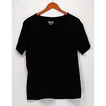 Denim & Co. Top Essentials Perfect Jersey Short Sleeve Schwarz A200149