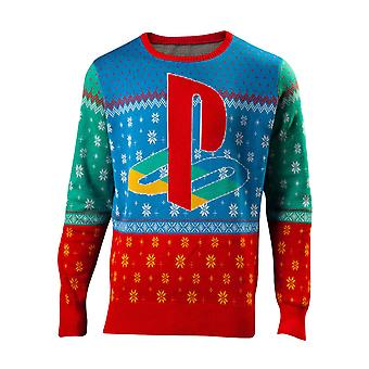Playstation Christmas Jumper Tokyo Logo new Official Gamer Mens Knitted
