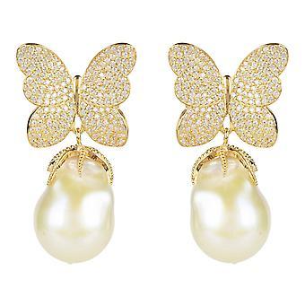 Earrings Natural Baroque White Pearl Butterfly Yellow Gold CZ Drop Statement Big