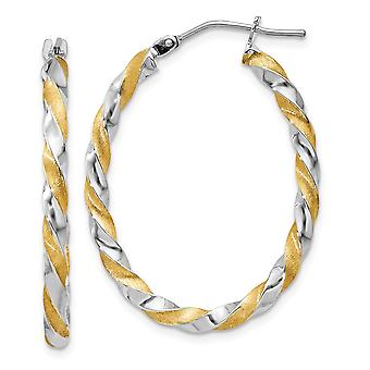 14k Yellow Gold Polished and satin and Rhodium Twisted Hoop Earrings - 1.3 Grams