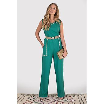 Anicet embroidered trim high v-neck sleeveless evening full-length jumpsuit in khaki green