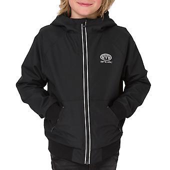 Animal Boys Jakobe Long Sleeve Hooded Zip Up  Waterproof Coat Jacket - Black