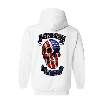 Unisex Zip Up Hoodie USA bandera gratis cráneo vivo o morir