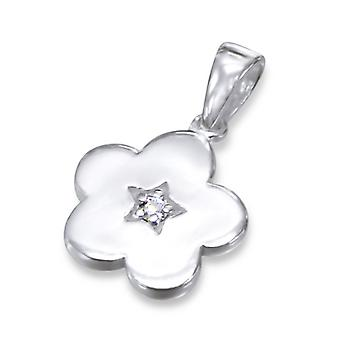 Blume - jeweled 925 Sterling Silber Anhänger - W11603X