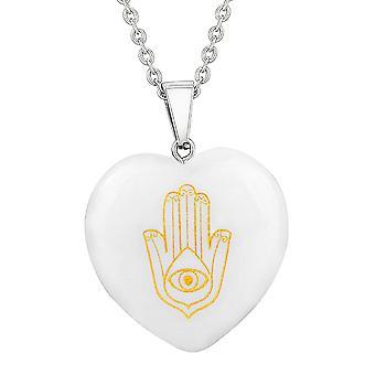 Amulet Hamsa Magical Powers Protection Energy Snowflake Quartz Puffy Heart Pendant Necklace