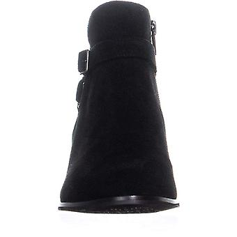 Giani Bernini GB35 Doriil Buckle Ankle Boots, Black Suede