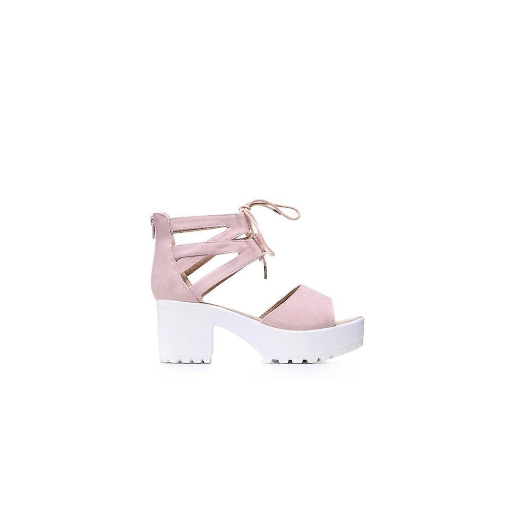 Onlineshoe Lace Up Ankle Strap Cleated Sole Block Heel