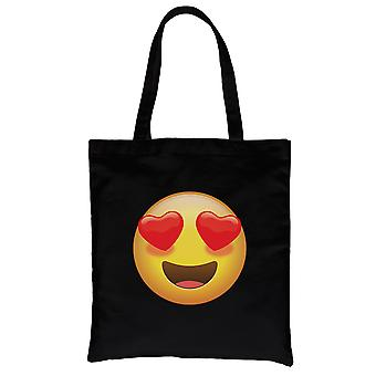 Emoji-hjerte øyne svart lerret skulder bag Wonderful Halloween gave
