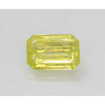 Cert 2.03 Carat Canary Yellow SI2 Emerald Enhanced Natural Diamond 6.13x6.27mm