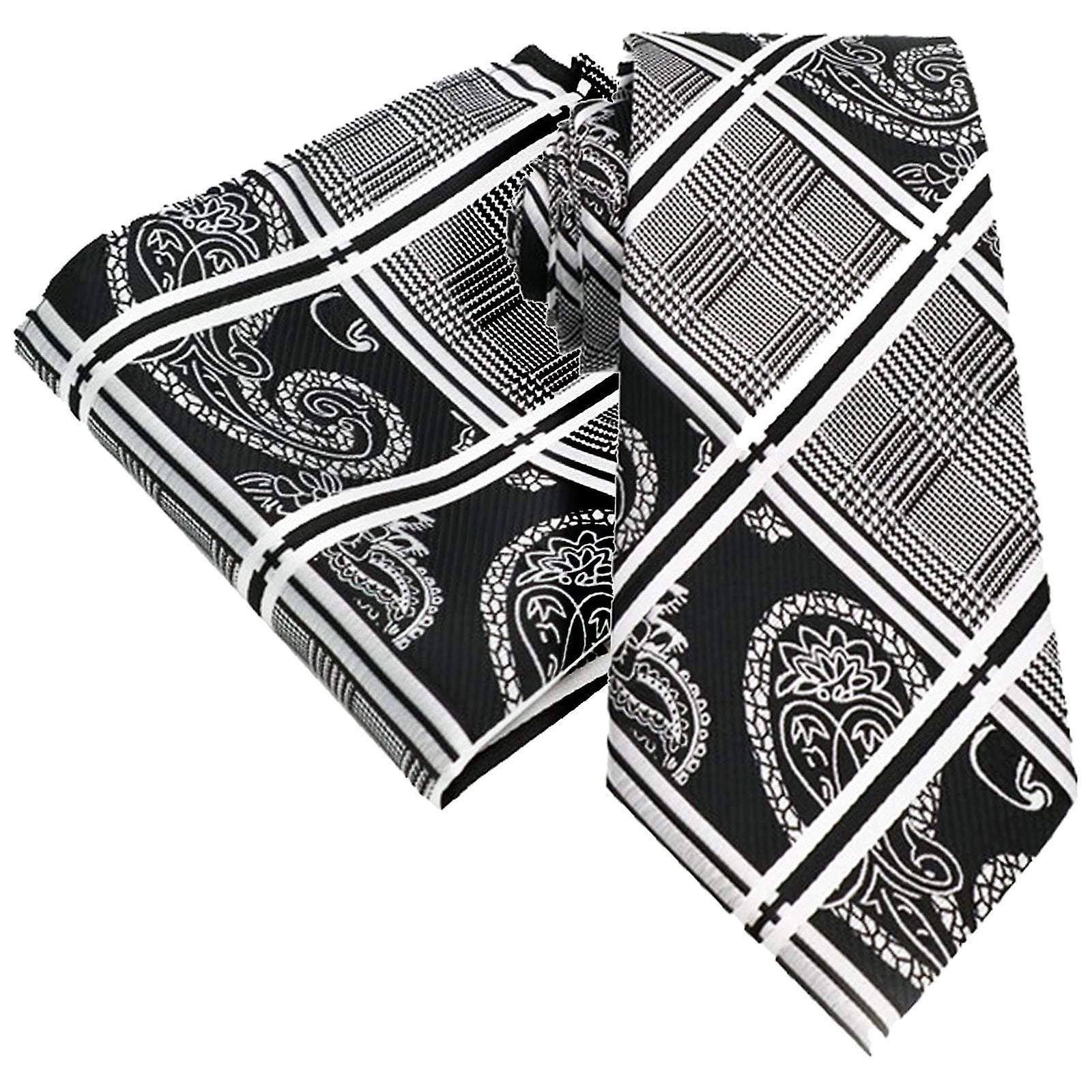 Black & white paisley & tartan tie & pocket square