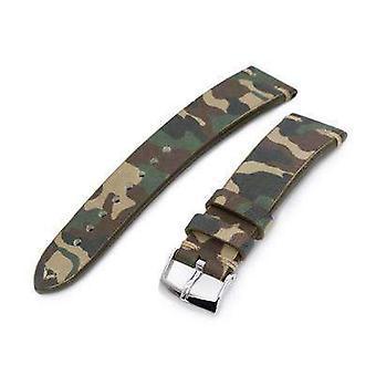 Strapcode militære ur rem 20mm miltat italiensk håndlavet camo mønster urrem, 18mm ende, khaki syninger