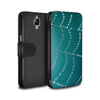 STUFF4 PU Leather Wallet Flip Case/Cover for OnePlus 3/3T/Turquoise/Spider Web Pearls
