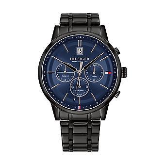 Tommy Hilfiger horloge 1791633-multifunctionele zwarte stalen kast ronde blauwe stalen armband zwart stalen armband mannen