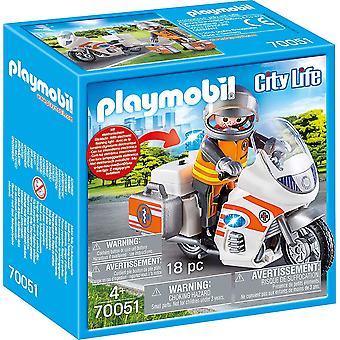 Playmobil 70051 City Life Emergency Motorcycle 18PC Playset