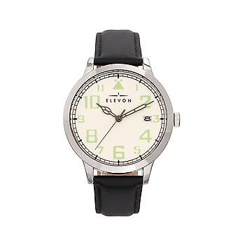 Elevon Sabre Leather-Band Watch w/Date - Silver/White/Black