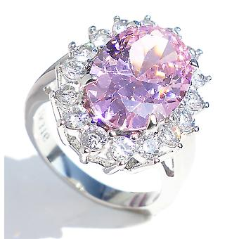 Ah! Jewellery Stunning Ring With World Class Round Simulated Diamonds, Surrounding An Elegant Light Rose 14.1mm Centre Stone
