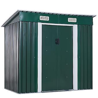 Outsunny 6ft x 4ft Pent Roofed Metal Garden Shed House Hut Gardening Tool Storage w/ Foundation and Ventilation 195 x 122 x 180 cm