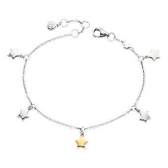 Little Star Ivy Silver & Gold Star Charms Children's Bracelet