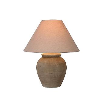 Lucide Ramzi Cottage Round Ceramics Brown Table Lamp