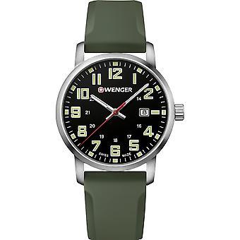 Wenger Avenue Quartz Black Dial Green Silicone Strap Men's Watch 01.1641.112