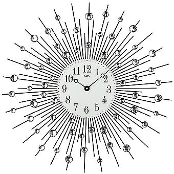 AMS 9380 wall clock kvartsi analoginen black metalin lasitiilituotteiden