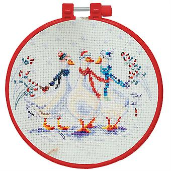 Abris Art Cross Stitch Kit With Decorative Embroidery Frame - Three Cute Geese