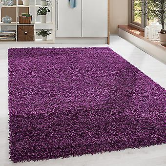 Shaggy High Flor LongFlor Rug Soft Living Room Rug Color Púrpura Color Sólido