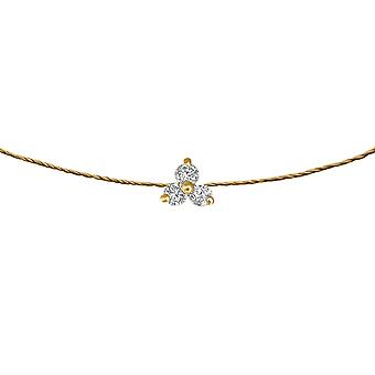 Choker Britney 18K Gold and Diamonds, on Thread - Yellow Gold, Champagne