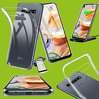 For LG K61 Silicone Case TPU Transparent + 0.26 H9 Glass Case Sleeve Cover Cover