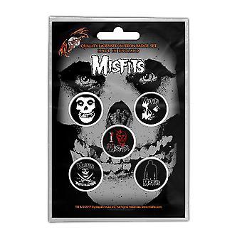 Misfits Badge Pack Jarek Totenkopflogo Band neue offizielle Black 5 x Pin Button
