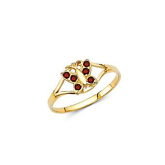14k Yellow Gold CZ Cubic Zirconia Simulated Diamond Jan Boys and Girls Ring Taille 3 - .7 Grammes