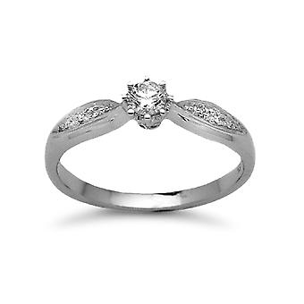 Jewelco London Ladies Solid 9ct White Gold 6 Claw Set Round Brilliant G I2 22pts Diamond Solitaire Engagement Ring