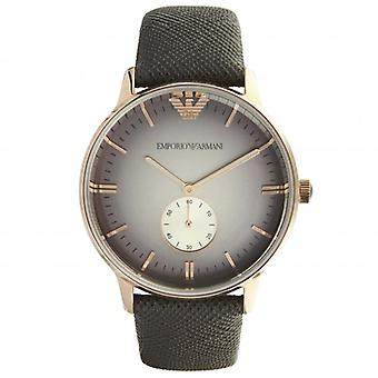 Armani Watches Ar1723 Rose Gold-tone & Green Textured Leather Unisex Watch
