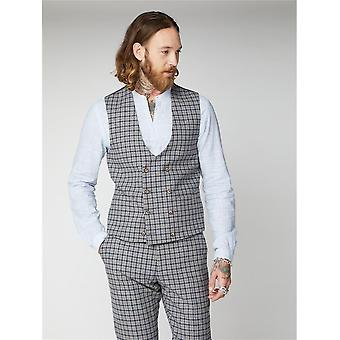 Cheyne Grey With Navy & Brown Check Double-Breasted Suit Waistcoat